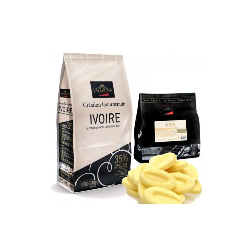 Ivoire vit choklad 35% 400g pellets